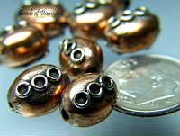 Egg Shaped Copper Beads - 3 circles