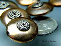 Lentil Shape Copper Bead - Spiral