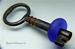 Vintage Key - Blue Satin