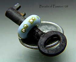 Mini Vintage Key w/Denim Drizzled